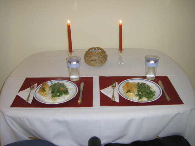 Our first candle-lit dinner